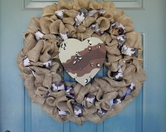 Burlap Wreath with Camo Accents - Deployed Soldier - Army Wreath - Marines Wreath - Navy Wreath - Air Force Wreath - Soldier Support