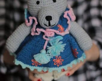 Gray crochet Toy Bear- Handmade