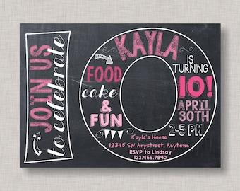 Tenth Birthday Invitation, 10th Birthday Invitation, Girl Birthday Invitation, Photo Invitation, 10th, Number 10, Tenth Birthday, Girl 10th