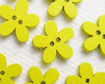 """Yellow Daisy: 9/16"""" (14mm) Wooden Flower Buttons - Set of 9 New / Unused Matching Buttons"""