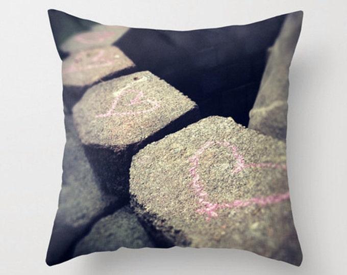 Pink Chalk Hearts Sofa Pillow, Accent Pillow, Neutral Throw Pillow Cover, 18x18 24x24 Decorative Pillow Cushion, Love Graffiti Drawing