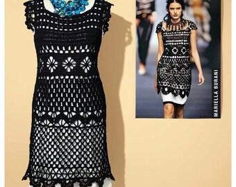 Crochet dress PATTERN, designer crochet dress pattern, sexy crochet dress pattern, detailed instructions in ENGLISH, crochet cocktail dress.