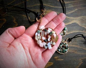 Rose Quartz, Rutilated Quartz, Moss Agate, Prehnite, Blue Lace Agate Spiral Pendant // Wire Wrap // Copper Jewelry // Adjustable Necklace /