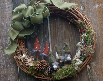 Woodland Gnome Grapevine Wreath... Made to order (woolcrazy)
