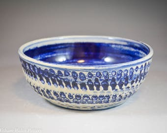 Wheel Thrown Bowl with Blue Marbled Stained Clay with Carved Texture