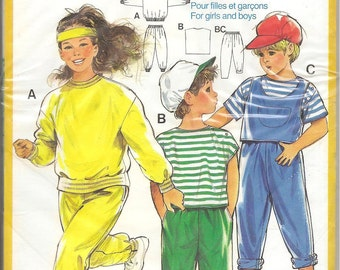 Vintage Burda Super Easy 6026 Children's Top Trousers Sweater Sewing Pattern Height 34 to 55 inches