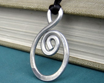 Big Oval Spiral Pendant Necklace, Hand Forged Necklace, Statement Necklace, Light Weight Aluminum Jewelry Hammered Boho Jewelry Gift for Her
