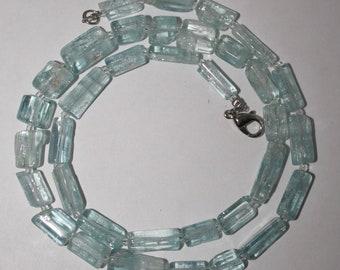 Rare aquamarine crystal necklace,   FREE SHIPPING
