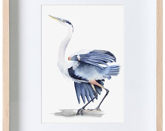 Great blue heron watercolour painting, bird watercolor, wildlife print, wall art, decor