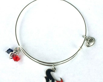 Houston Texans Bangle Silver Stackable Bracelet Pro Sports Football Team