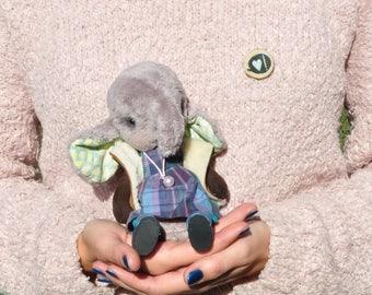 Teddy elephant Stuffed elephant teddy bear Plush elephant toy Artist doll elephant OOAK toy elephant plushy Elephant lover gif