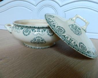 Antique Soup tureen f Choisy-le-Roi // Earthenware Ironstone tureen / light green pattern