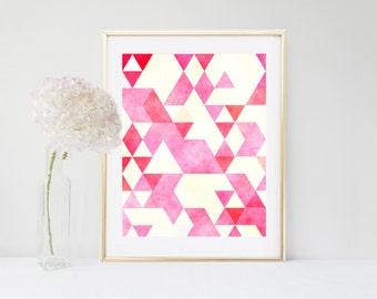 Pink Geometric Art Print, Pink Wall Art, Printable Art, Scandinavian Art, Pink Abstract Print,  Instant Download,  Home Decor