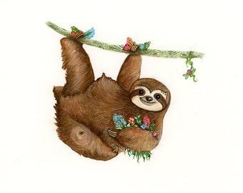 8x10 Sloth Print of an Original Watercolor Painting