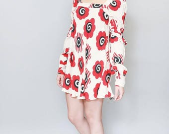 Vintage 1960's Celia Birtwell Floral Print Mini Dress