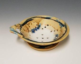 Handmade ceramic berry colander and drip saucer #1020