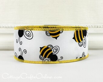 "Wired Ribbon 1 1/2"" Black and Yellow Bumble Bees on White Satin - TEN YARD ROLL - ""Bumblebee 9"" Spring, Summer Craft Decor Wire Edged Ribbon"