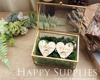 Wedding Glass Box, Glass Ring Box, Custom Name Glass Jewelry Box, Geometric Copper Ring Holder, Bride Groom Stain Glass Ring Pillow