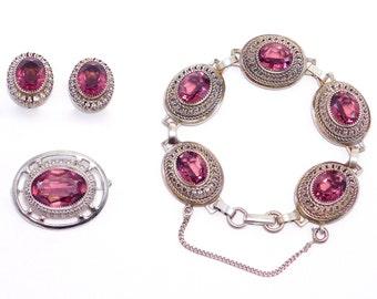 Sterling Filigree & Amethyst Glass Danecraft Bracelet Parure