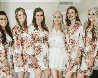 5-Floral Bridesmaid Robes-FREE INITIAL MONOGRAMMING-Select Any color of 5 robes- Select from 11 Colors!