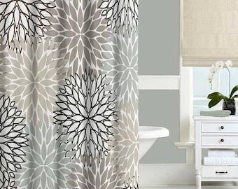 Floral Shower Curtain Neutral Gray Beige White Dahlia Bathroom Decor Rug Blue Black