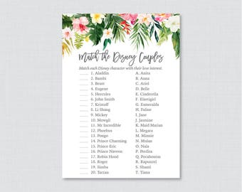 Tropical Disney Couples Match Game - Printable Hawaiian Bridal Shower Famous Couples Match Game - Palm Leaf Luau Wedding Shower Game 0032