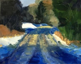 Winter Snow, Landscape, Oil Painting, Original, 8x10 Canvas, Rural Forest, Road, Sunlight, Blue, Green, Snowy, Cold, Evergreen Trees