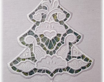"""Cutwork Christmas Tree - Richelieu Embroidery Designs for hoop 5x7"""""""