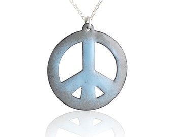 Blue Peace Sign Enamel Necklace