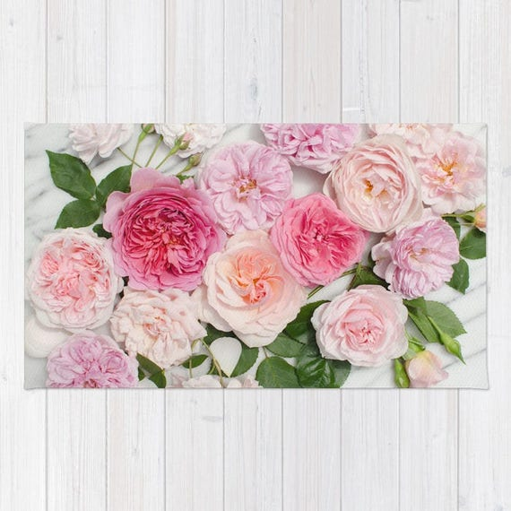 Pink Flowers Rug Pink Roses Rug Pink Floral Rug Blush Pink