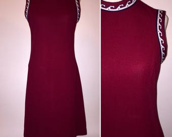 Vintage 1970s 70s Maroon Burgundy Fit and Flare Spring Sleeveless Dress with Trim Details Size Small Medium Polyester