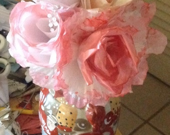 Bouquet of Paper Roses Softly Tinted Set of 4