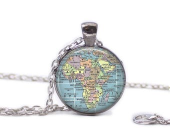 Africa Map Pendant Map Necklace Map Jewelry Travel Necklace Map Map of Africa