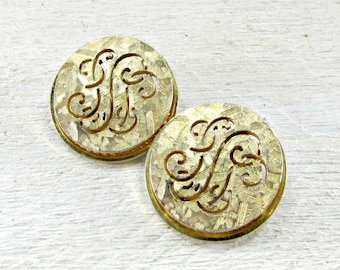 Vintage Gold Circle Earrings, Round Gold Earrings, Monogrammed Earrings, Clip-on Earrings, 1950s Vintage Costume Jewelry, Gift for Mom