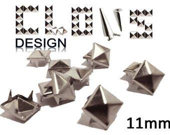 Custom 100 X 11mm silver pyramid studs