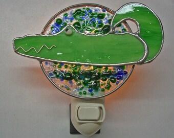 Alligator Nightlight - Alligator Fused Glass & Stained Glass Night Light - Glass Alligator MADE TO ORDER