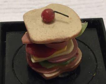 "Dollhouse Miniature Club Sandwich in 1"" Scale. (JV)"