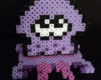 Little purple squid perler with stand