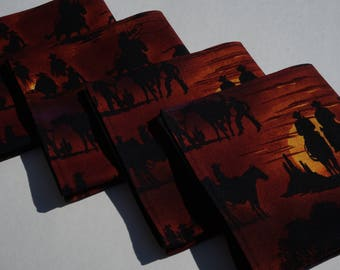 Cowboy Cloth Napkins, Western Napkins, Cowboy Silhouettes, Roundup Napkins, Everyday Napkins, Black and Brown, Cowboys, Sunsets and Roping