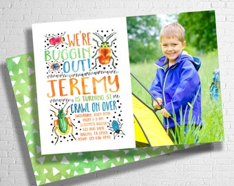 Bug Birthday Invitation | Bugs Birthday Invite | Insect Invitation | Creepy Crawly Birthday | Buggin' Out Invitation | DIGITAL FILE ONLY