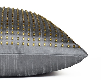 Grey Linen Throw Pillow Cover With Gold Sequins Embellished