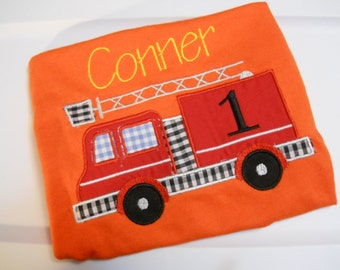 Firetruck Birthday shirt, customized to fit your toddler