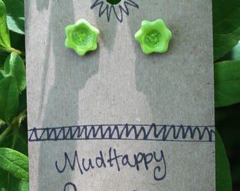 Tiny studs, green ceramic flower earrings