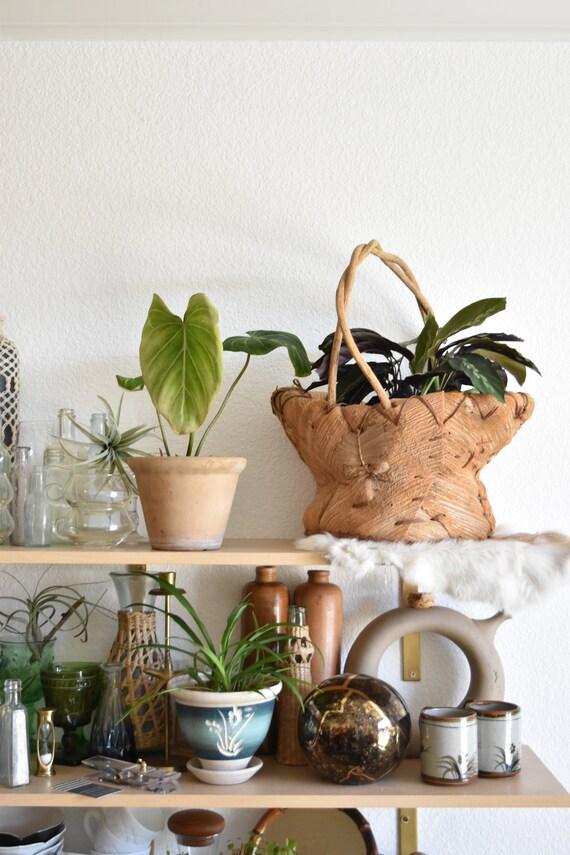 large vintage woven banana leaf husk basket planter / boho