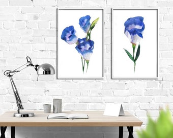 Home decor painting . jpg printable digital poster instant download . tulip blue ,  decoration . watercolor tulips blue