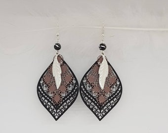 Black and chocolate leaf feather earrings