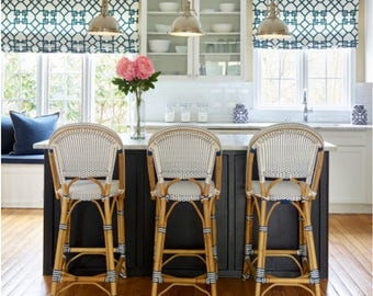 Roman Shades Kravet Designer Cordless Custom Length Width Blue Green Valance Trellis Kitchen Bathroom Bedroom Brown Black Pink Indigo