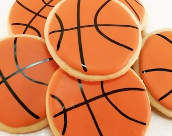 Basketball decorated sugar cookies