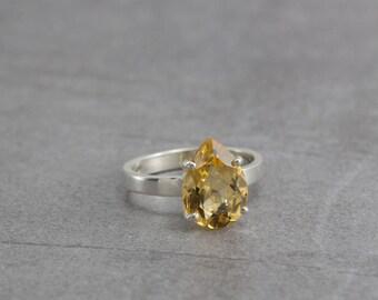 Solitaire Citrine ring, antique ring,  Victorian ring, Silver citrine ring, orange, solitaire ring, yellow gemstone, November ring, Topaz