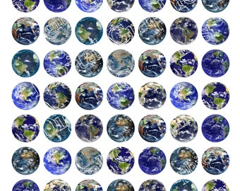 EARTH Planet Digital Graphics Astronomy Space Universe Planet Download Digital Collage Sheet Instant Download 1 inch circles